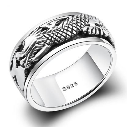 Silver Dragon Ring Mens