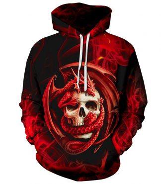 crazy skull dragon hoodie
