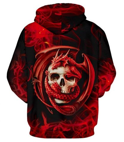 crazy skull hoodie dragon
