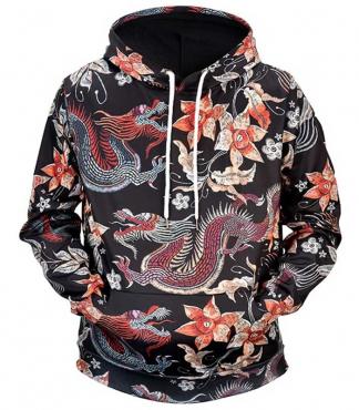 dragon hoodie flowers