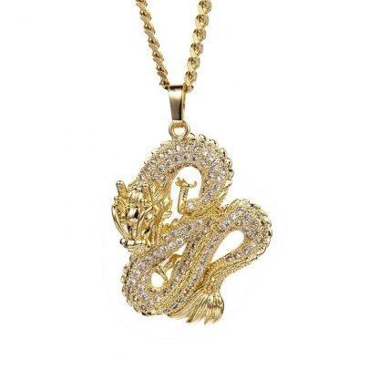 Gold Dragon Necklace Pendants