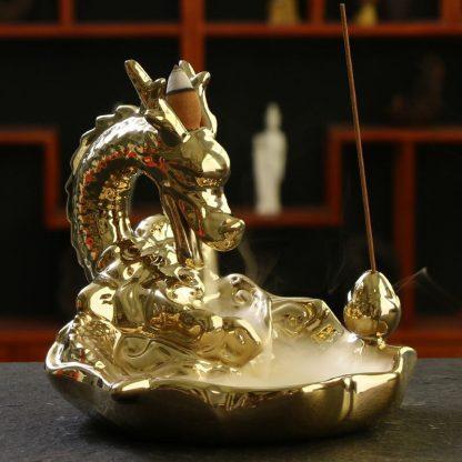 gold incense burner dragon