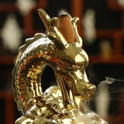incense burner gold dragon