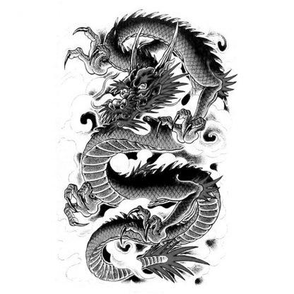 Temporary Black Dragon Tattoo
