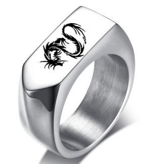 Laser Engraved Dragon Ring