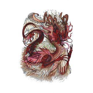 Temporary Red Dragon Tattoo