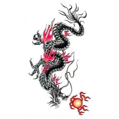 Temporary Red Dragon Tattoo Asian