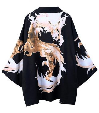Black And Gold Dragon Kimono