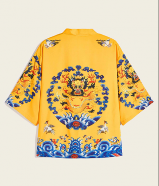 Dragon And Crane Print Yellow Kimono