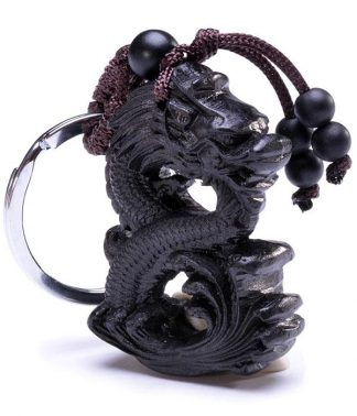 Ebony Wood Dragon Keychain