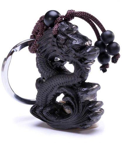 Ebony Wood Dragon Keychain