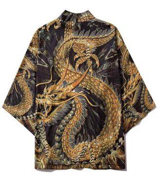 Golden Japanese Dragon Kimono