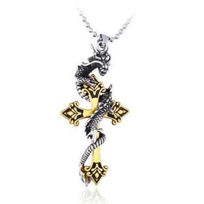 Steel Mens Dragon Pendant