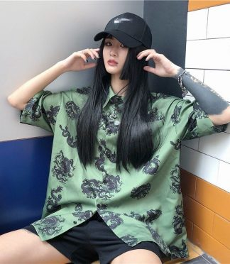 dragon printed shirt