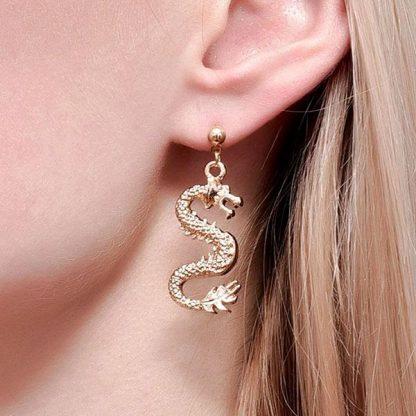 Dragon Earrings gold