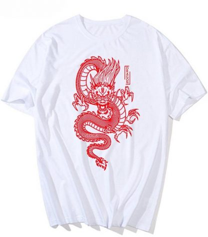 white t shirt with red dragon