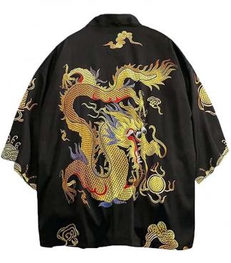 women's chinese kimono dragon Cardigan