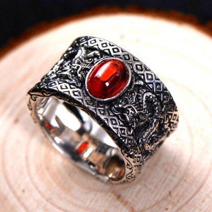 Black Onyx ring Dragon