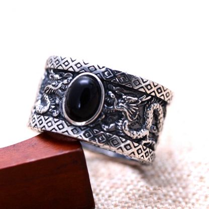 Black Onyx Dragon silver Ring