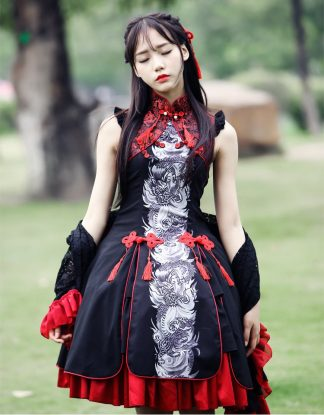 Gothic Embroidered Chinese Dragon Dress