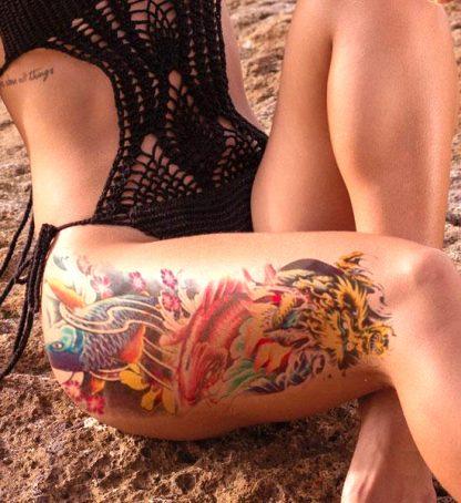Koi and Dragon tattoo Temporary