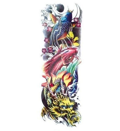 Koi and Dragon Temporary Tattoo