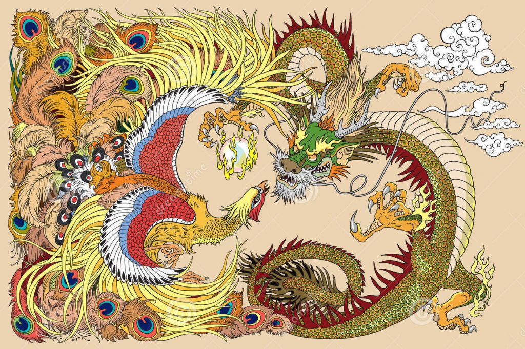 chinese dragon phoenix  pearl feng huang ball vector