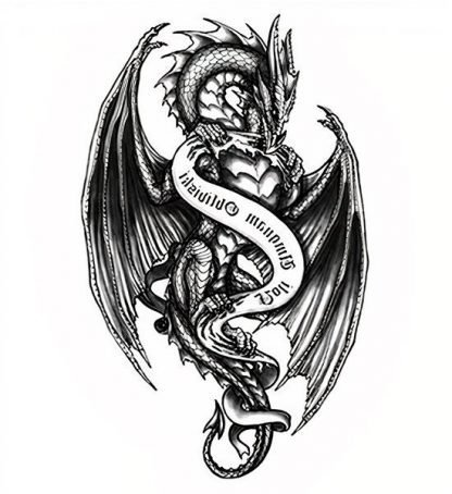Gothic Temporary Dragon Tattoo