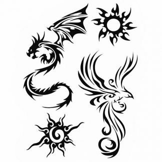 Phoenix Dragon Temporary Tattoo